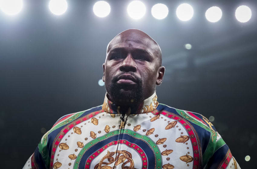 BALTIMORE, MD - JULY 27: Fight promoter and retired professional boxer Floyd Mayweather Jr. in the ring before the WBA super featherweight championship fight between Gervonta Davis and Ricardo Nunez at Royal Farms Arena on July 27, 2019 in Baltimore, Maryland. (Photo by Scott Taetsch/Getty Images)