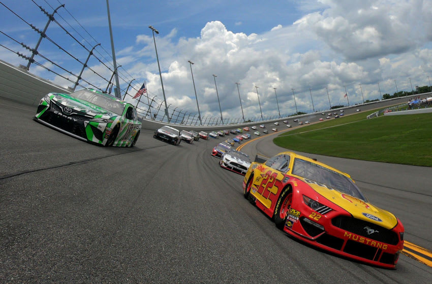 DAYTONA BEACH, FLORIDA - JULY 07: Joey Logano, driver of the #22 Shell Pennzoil Ford, leads a pace lap prior to the start of the Monster Energy NASCAR Cup Series Coke Zero Sugar 400 at Daytona International Speedway on July 07, 2019 in Daytona Beach, Florida. (Photo by Jared C. Tilton/Getty Images)