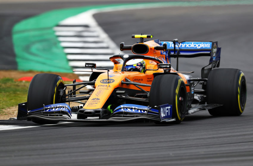 NORTHAMPTON, ENGLAND - JULY 12: Lando Norris of Great Britain driving the (4) McLaren F1 Team MCL34 Renault on track during practice for the F1 Grand Prix of Great Britain at Silverstone on July 12, 2019 in Northampton, England. (Photo by Mark Thompson/Getty Images)