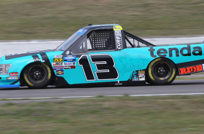 BOWMANVILLE, ON - AUGUST 25: Johnny Sauter #13 driving the Tenda Heal Ford races in the Chevrolet Silverado 250 Gander Nascar Outdoor Truck Series event at Canadian Tire Motorsport Park on August 25, 2019 in Bowmanville, Ontario, Canada. (Photo by Claus Andersen/Getty Images)