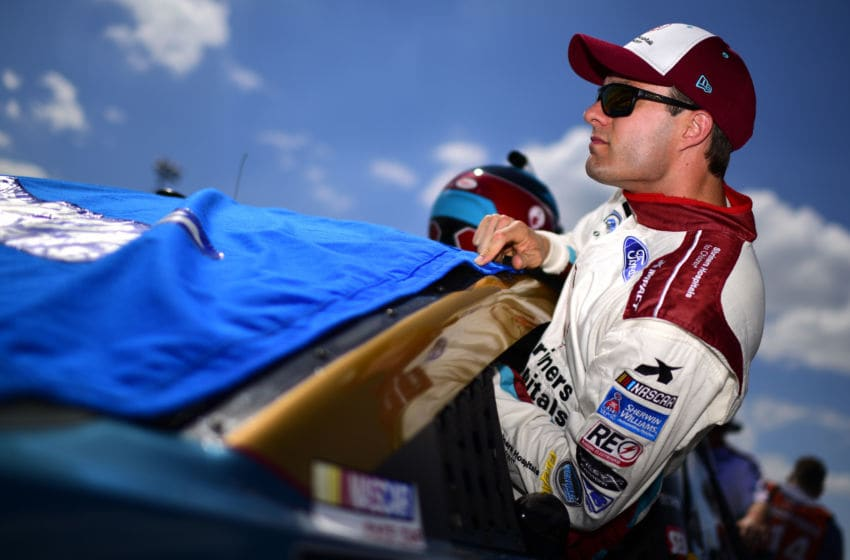 DARLINGTON, SOUTH CAROLINA - AUGUST 31: David Ragan, driver of the #38 Shriners Hospital for Children Ford, climbs into his car during qualifying for the Monster Energy NASCAR Cup Series Bojangles' Southern 500 at Darlington Raceway on August 31, 2019 in Darlington, South Carolina. (Photo by Jared C. Tilton/Getty Images)
