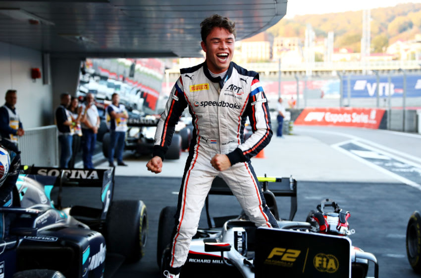 SOCHI, RUSSIA - SEPTEMBER 28: Nyck De Vries of Netherlands and ART Grand Prix celebrates winning the F2 Championship during the feature race of the F2 Grand Prix of Russia at Sochi Autodrom on September 28, 2019 in Sochi, Russia. (Photo by Mark Thompson/Getty Images)