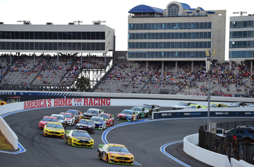 CHARLOTTE, NORTH CAROLINA - SEPTEMBER 29: Clint Bowyer, driver of the #14 Rush/Cummins Ford, leads a pack of cars during the Monster Energy NASCAR Cup Series Bank of America ROVAL 400 at Charlotte Motor Speedway on September 29, 2019 in Charlotte, North Carolina. (Photo by Jared C. Tilton/Getty Images)