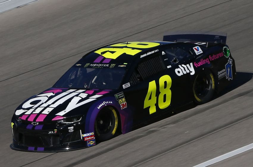 KANSAS CITY, KANSAS - OCTOBER 18: Jimmie Johnson, driver of the #48 Ally Fueling Futures Chevrolet, practices for the Monster Energy NASCAR Cup Series Hollywood Casino 400 at Kansas Speedway on October 18, 2019 in Kansas City, Kansas. (Photo by Jonathan Ferrey/Getty Images)