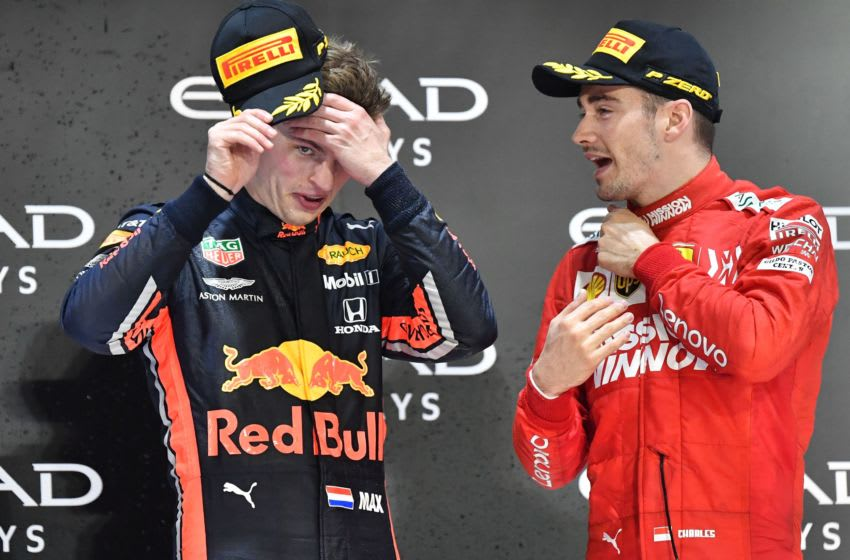 Max Verstappen, Red Bull Racing, and Charles Leclerc, Ferrari, Formula 1 (Photo by ANDREJ ISAKOVIC / AFP) (Photo by ANDREJ ISAKOVIC/AFP via Getty Images)