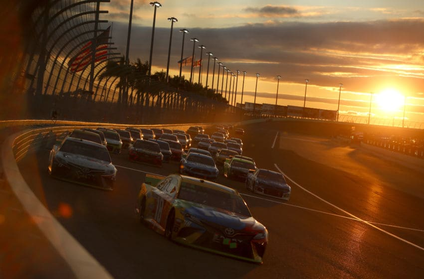 HOMESTEAD, FLORIDA - NOVEMBER 17: Kyle Busch, driver of the #18 M&M's Toyota, leads a pack of cars during the Monster Energy NASCAR Cup Series Ford EcoBoost 400 at Homestead Speedway on November 17, 2019 in Homestead, Florida. (Photo by Jonathan Ferrey/Getty Images)