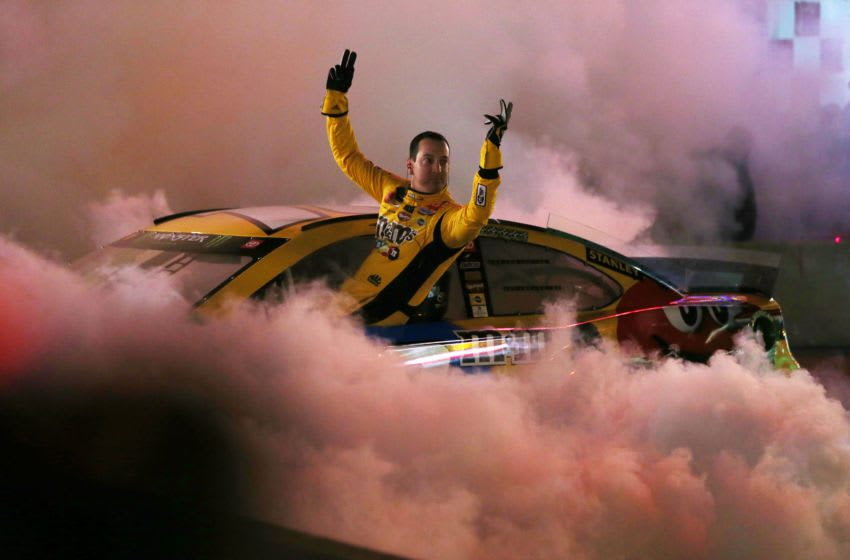 NASHVILLE, TENNESSEE - DECEMBER 04: Kyle Busch performs a burnout during the Monster Energy NASCAR Cup Series Burnouts on Broadway on December 04, 2019 in Nashville, Tennessee. (Photo by Brian Lawdermilk/Getty Images)
