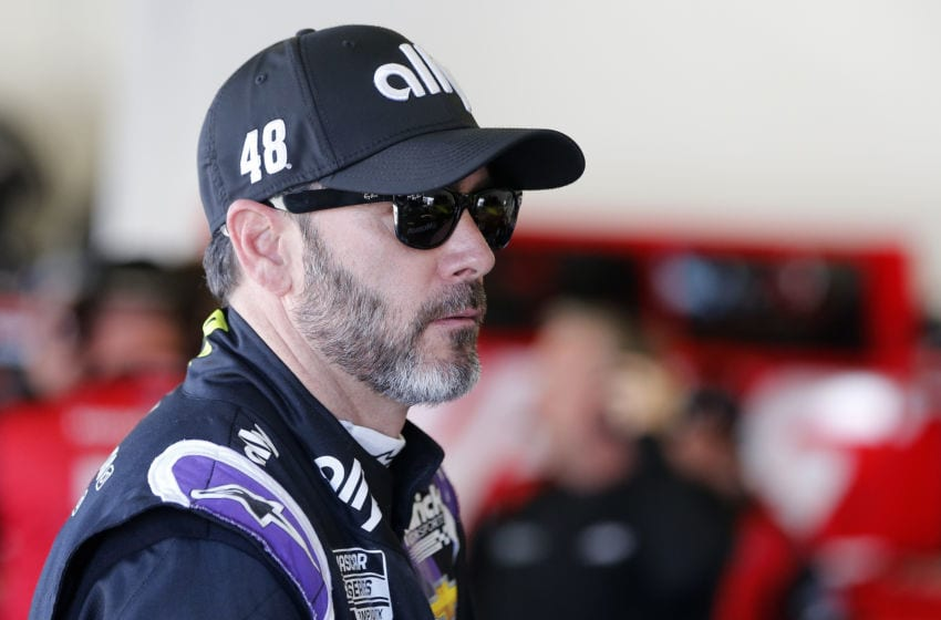 DAYTONA BEACH, FLORIDA - FEBRUARY 08: Jimmie Johnson, driver of the #48 Ally Chevrolet, stands in the garage area during practice for the NASCAR Cup Series 62nd Annual Daytona 500 at Daytona International Speedway on February 08, 2020 in Daytona Beach, Florida. (Photo by Brian Lawdermilk/Getty Images)