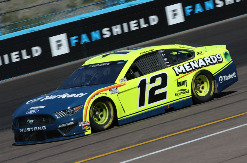 AVONDALE, ARIZONA - MARCH 06: Ryan Blaney, driver of the #12 Menards/Tarkett Ford, practices during practice for the NASCAR Cup Series FanShield 500 at Phoenix Raceway on March 06, 2020 in Avondale, Arizona. (Photo by Chris Graythen/Getty Images)