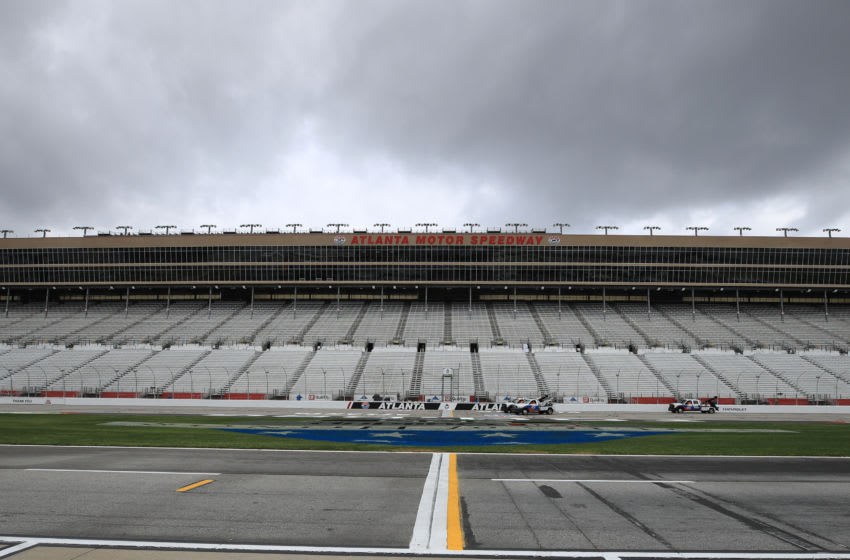 HAMPTON, GEORGIA - MARCH 13: A general view of the track and pit road at Atlanta Motor Speedway on March 13, 2020 in Hampton, Georgia. NASCAR is suspending races due to the ongoing threat of the Coronavirus (COVID-19) outbreak. (Photo by Chris Graythen/Getty Images)