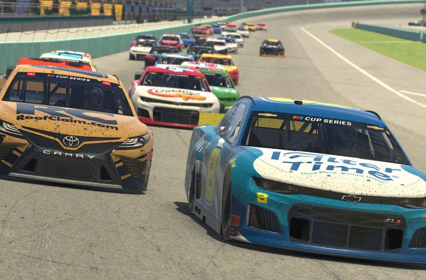 HOMESTEAD, FLORIDA - MARCH 22: (EDITORIAL USE ONLY) (Editors note: This image was computer generated in-game). Dale Earnhardt Jr., iRacing, NASCAR (Photo by Chris Graythen/Getty Images)