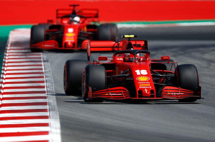 Charles Leclerc and Sebastian Vettel, Ferrari, Formula 1 (Photo by ALEJANDRO GARCIA/POOL/AFP via Getty Images)