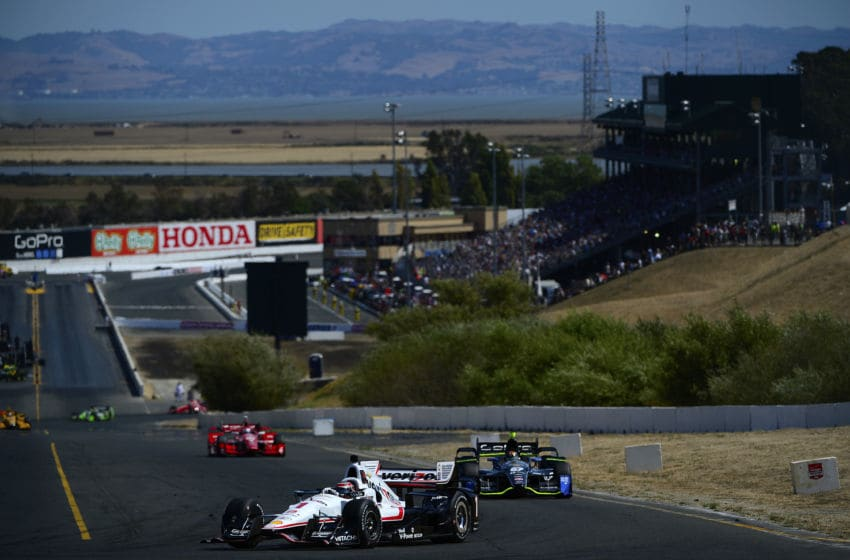 SONOMA, CA - AUGUST 30: Will Power of Australia driver of the #1 Team Penekse Chevrolet Dallara leads a pack of cars during the Verizon IndyCar Series GoPro Grand Prix of Sonoma at Sonoma Raceway on August 30, 2015 in Sonoma, California. (Photo by Robert Laberge/Getty Images)