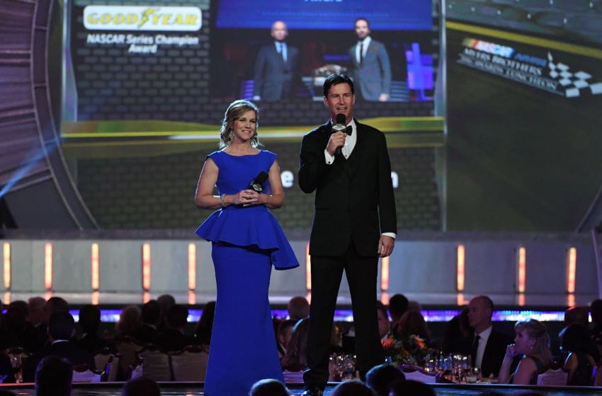 LAS VEGAS, NV - DECEMBER 02: Sportscasters Krista Voda (L) and Rick Allen speak during the 2016 NASCAR Sprint Cup Series Awards show at Wynn Las Vegas on December 2, 2016 in Las Vegas, Nevada. (Photo by Ethan Miller/Getty Images)