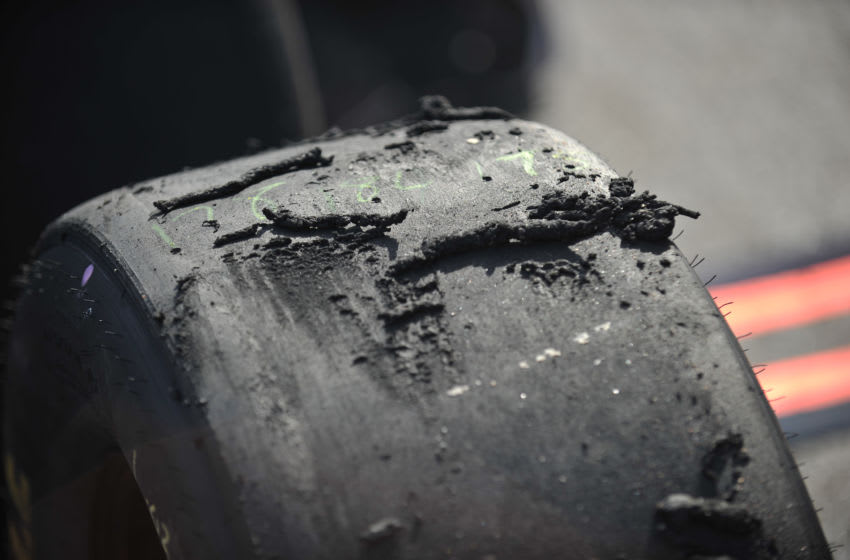 RIDGEWAY, VA - APRIL 07: A general view of tires after they came off of cars during a pit stop during the NASCAR Sprint Cup Series STP Gas Booster 500 on April 7, 2013 at Martinsville Speedway in Ridgeway, Virginia. (Photo by Jamey Price/Getty Images)