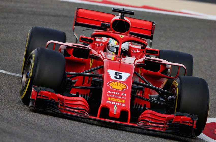 BAHRAIN, BAHRAIN - APRIL 06: Sebastian Vettel of Germany driving the (5) Scuderia Ferrari SF71H on track during practice for the Bahrain Formula One Grand Prix at Bahrain International Circuit on April 6, 2018 in Bahrain, Bahrain. (Photo by Charles Coates/Getty Images)
