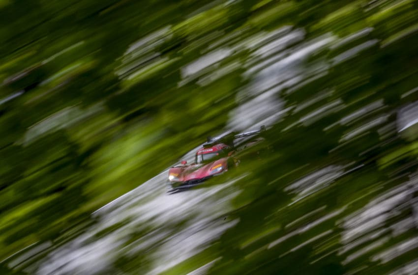 ELKHART LAKE, WI - AUGUST 03: A Mazda DPi race car streaks past trees during practicie for the IMSA Continental Road Race Showcase at Road America on August 3, 2018 in Elkhart Lake, Wisconsin. (Photo by Brian Cleary/Getty Images)