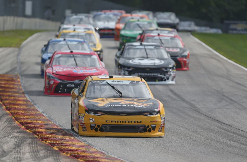 ELKHART LAKE, WI - AUGUST 25: NASCAR Xfinity Series drivers race in the 2018 Johnsonville 180 at Road America (Photo by Matt Sullivan/Getty Images)