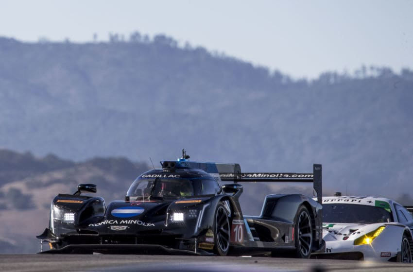 MONTEREY, CA - SEPTEMBER 08: The #10 Cadillac DPi of Jordan Taylor and Renger van der Zande, of the Netherlands, races on the track during practice for the American Tire 250 IMSA WeatherTechSeries race at Mazda Raceway Laguna Seca on September 8, 2018 in Monterey, California. (Photo by Brian Cleary/Getty Images)