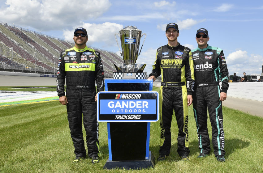 BROOKLYN, MICHIGAN - AUGUST 10: Matt Crafton, Grant Enfinger, and Johnny Sauter, ThorSport Racing NASCAR Truck Series (Photo by Quinn Harris/Getty Images)