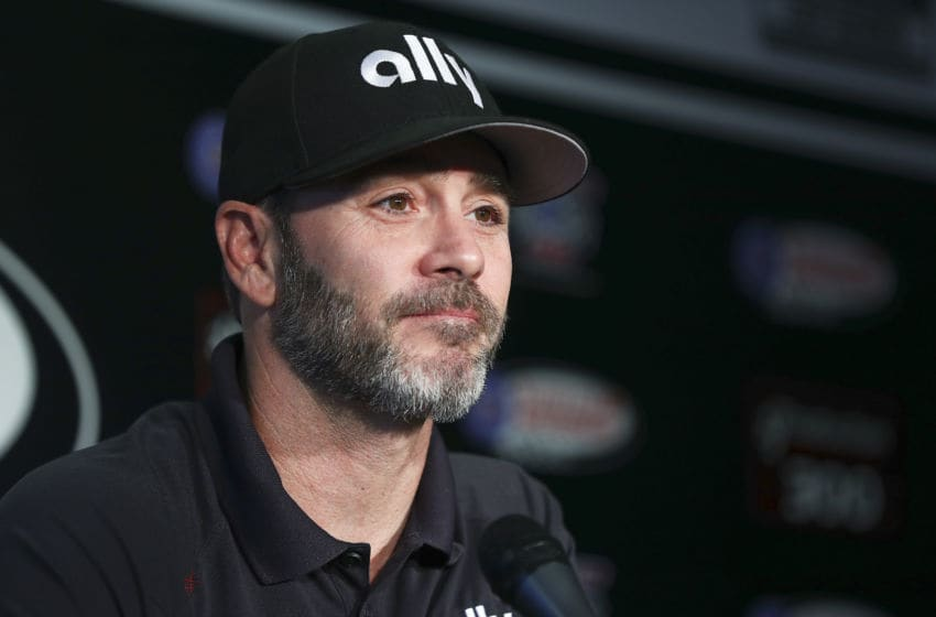 FONTANA, CALIFORNIA - FEBRUARY 28: Jimmie Johnson, driver of the #48 Ally Chevrolet, speaks ahead of practice at Auto Club Speedway on February 28, 2020 in Fontana, California. (Photo by Meg Oliphant/Getty Images)