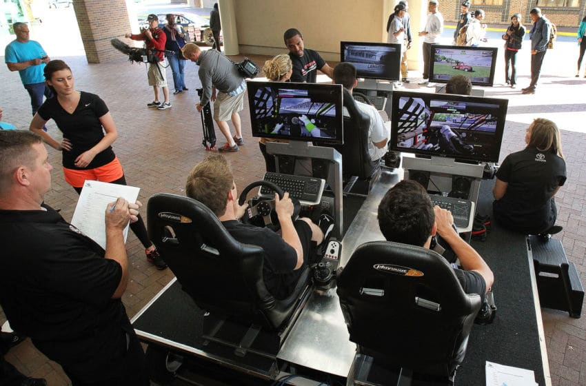 HAMPTON, VA - OCTOBER 16: IRacing simulators are used by the Combine participants during the NASCAR Drive for Diversity Combine at Hampton University on October 16, 2012 in Hampton, Virginia. (Photo by Tom Whitmore/Getty Images for NASCAR)