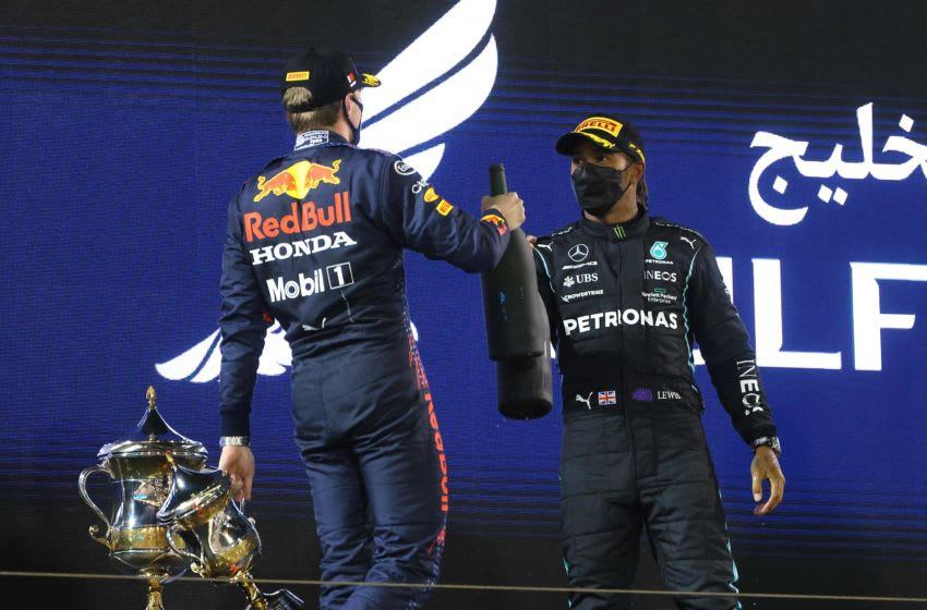 Max Verstappen, Red Bull and Lewis Hamilton, Mercedes, Formula 1 (Photo by GIUSEPPE CACACE/AFP via Getty Images)