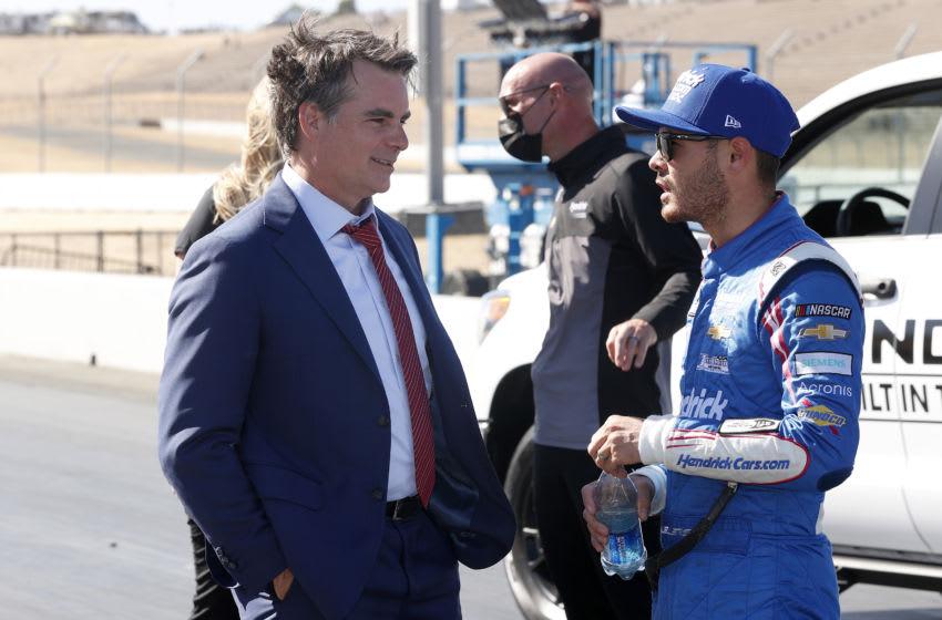Jeff Gordon, Fox Sports, and Kyle Larson, Hendrick Motorsports, NASCAR (Photo by Maddie Meyer/Getty Images)