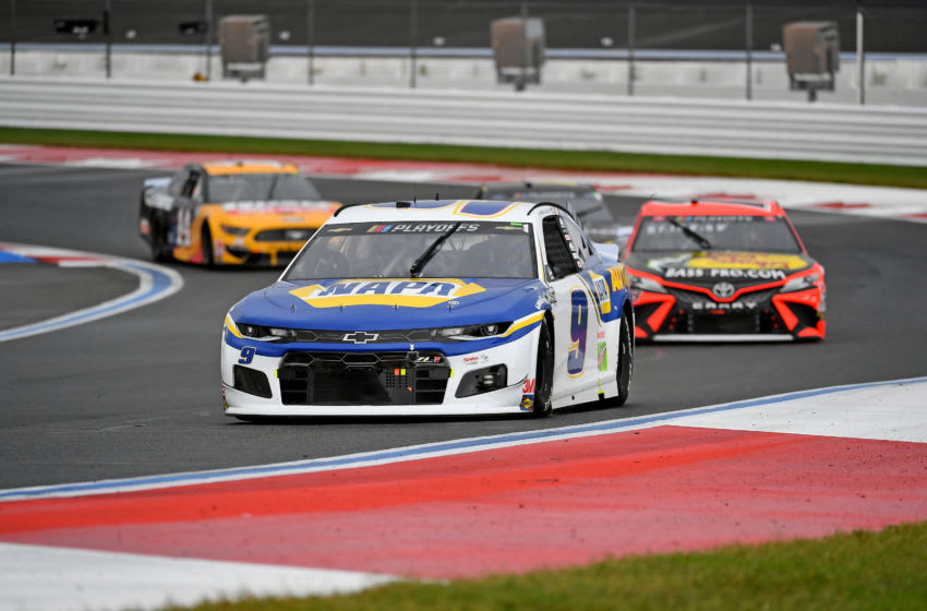 Chase Elliott, Hendrick Motorsports, and Martin Truex Jr., Joe Gibbs Racing, NASCAR - Mandatory Credit: Jasen Vinlove-USA TODAY Sports
