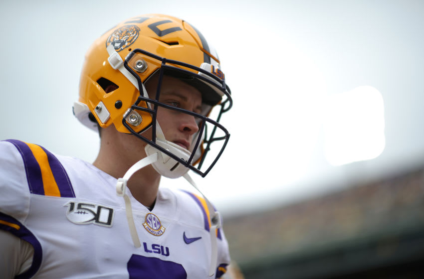 BATON ROUGE, LOUISIANA - OCTOBER 26: Quarterback Joe Burrow #9 of the LSU Tigers in action against the Auburn Tigers at Tiger Stadium on October 26, 2019 in Baton Rouge, Louisiana. (Photo by Chris Graythen/Getty Images)