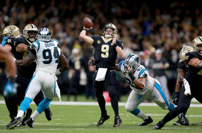 NEW ORLEANS, LOUISIANA - NOVEMBER 24: Drew Brees #9 of the New Orleans Saints throws a pass against the Carolina Panthers in the game at Mercedes Benz Superdome on November 24, 2019 in New Orleans, Louisiana. (Photo by Sean Gardner/Getty Images)