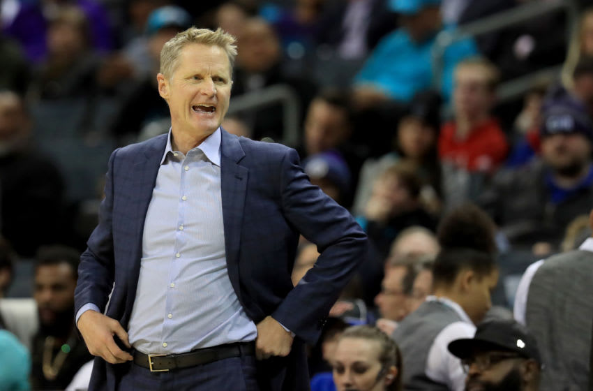 CHARLOTTE, NORTH CAROLINA - DECEMBER 04: Head coach Steve Kerr of the Golden State Warriors watches on against the Charlotte Hornets during their game at Spectrum Center on December 04, 2019 in Charlotte, North Carolina. NOTE TO USER: User expressly acknowledges and agrees that, by downloading and or using this photograph, User is consenting to the terms and conditions of the Getty Images License Agreement. (Photo by Streeter Lecka/Getty Images)