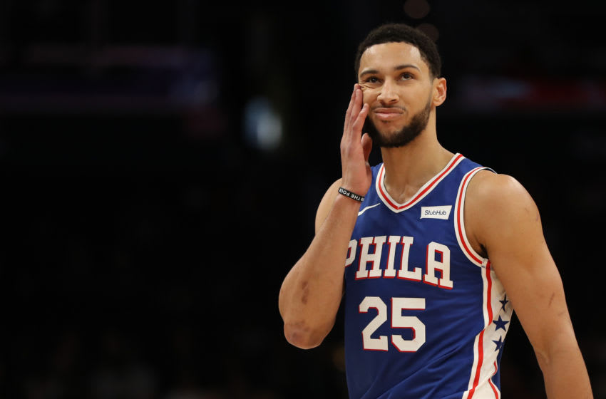 WASHINGTON, DC - DECEMBER 05: Ben Simmons #25 of the Philadelphia 76ers reacts against the Washington Wizards during the first half at Capital One Arena on December 5, 2019 in Washington, DC. NOTE TO USER: User expressly acknowledges and agrees that, by downloading and or using this photograph, User is consenting to the terms and conditions of the Getty Images License Agreement. (Photo by Patrick Smith/Getty Images)