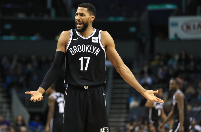 CHARLOTTE, NORTH CAROLINA - DECEMBER 06: Garrett Temple #17 of the Brooklyn Nets reacts after a play against the Charlotte Hornets during their game at Spectrum Center on December 06, 2019 in Charlotte, North Carolina. NOTE TO USER: User expressly acknowledges and agrees that, by downloading and or using this photograph, User is consenting to the terms and conditions of the Getty Images License Agreement. (Photo by Streeter Lecka/Getty Images)