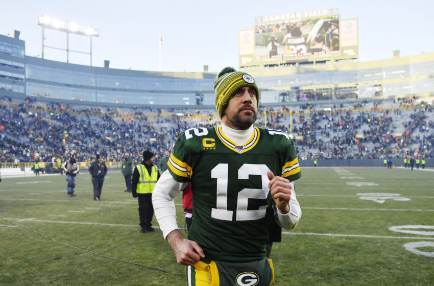 GREEN BAY, WISCONSIN - DECEMBER 15: Aaron Rodgers #12 of the Green Bay Packers leaves the field after the win against the Chicago Bears at Lambeau Field on December 15, 2019 in Green Bay, Wisconsin. (Photo by Quinn Harris/Getty Images)