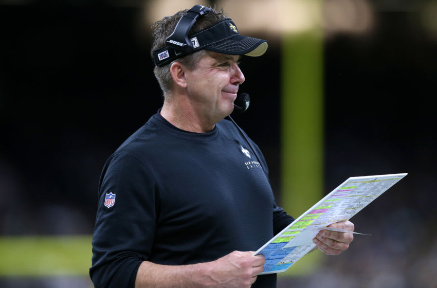 NEW ORLEANS, LOUISIANA - DECEMBER 16: Head coach Sean Payton of the New Orleans Saints reacts against the Indianapolis Colts at the Mercedes Benz Superdome on December 16, 2019 in New Orleans, Louisiana. (Photo by Jonathan Bachman/Getty Images)