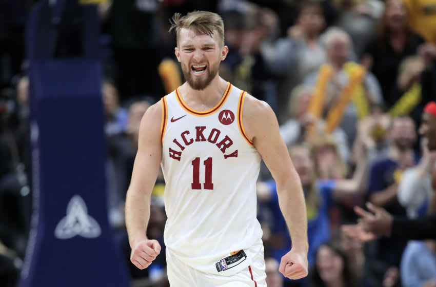 INDIANAPOLIS, INDIANA - DECEMBER 23: Domantas Sabonis #11 of the Indiana Pacers celebrates during the 120-115 OT win against the Toronto Raptors during the game at Bankers Life Fieldhouse on December 23, 2019 in Indianapolis, Indiana. NOTE TO USER: User expressly acknowledges and agrees that, by downloading and or using this photograph, User is consenting to the terms and conditions of the Getty Images License Agreement. (Photo by Andy Lyons/Getty Images)
