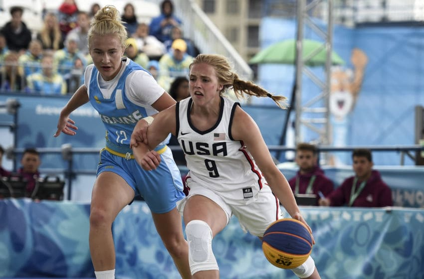 BUENOS AIRES, ARGENTINA - OCTOBER 12: Hailey van Lith of United States drives the ball against Ukraine in the Women Preliminary Round Pool B during day 6 of Buenos Aires 2018 Youth Olympic at Urban Park Puerto Madero on October 12, 2018 in Buenos Aires, Argentina. (Photo by Marcelo Endelli/Getty Images)