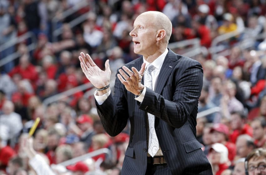 LOUISVILLE, KY - NOVEMBER 16: Head coach Chris Mack of the Louisville Cardinals reacts against the Vermont Catamounts in the second half of the game at KFC YUM! Center on November 16, 2018 in Louisville, Kentucky. Louisville won 86-78. (Photo by Joe Robbins/Getty Images)