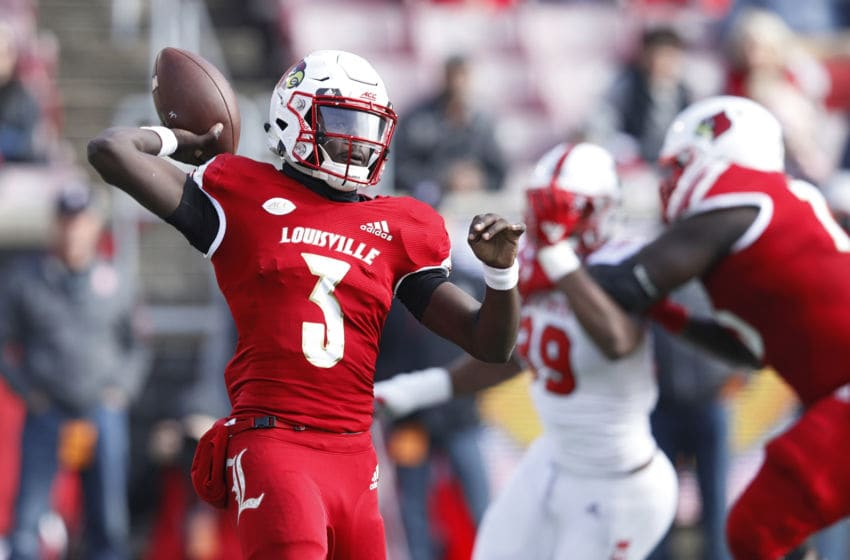 LOUISVILLE, KY - NOVEMBER 17: Malik Cunningham #3 of the Louisville Cardinals throws a pass against the North Carolina State Wolfpack in the second quarter of the game at Cardinal Stadium on November 17, 2018 in Louisville, Kentucky. (Photo by Joe Robbins/Getty Images)