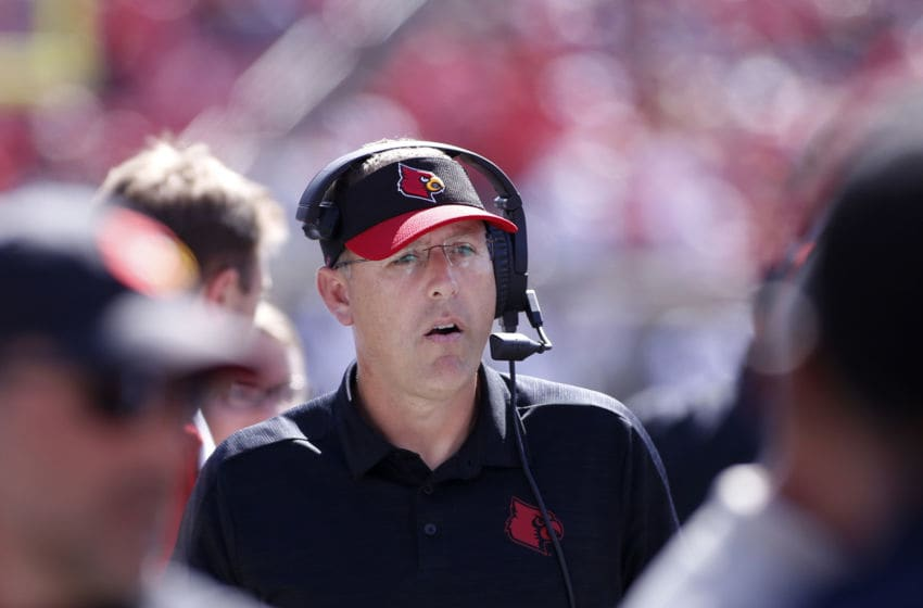 LOUISVILLE, KENTUCKY - OCTOBER 05: Head coach Scott Satterfield of the Louisville football program on the sidelines in the game against the Boston College Eagles during the fourth quarter at Cardinal Stadium on October 05, 2019 in Louisville, Kentucky. (Photo by Justin Casterline/Getty Images)