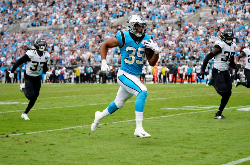 CHARLOTTE, NORTH CAROLINA - OCTOBER 06: Reggie Bonnafon #39 of the Carolina Panthers scores a touchdown in the fourth quarter during their game against the Jacksonville Jaguars at Bank of America Stadium on October 06, 2019 in Charlotte, North Carolina. (Photo by Jacob Kupferman/Getty Images)