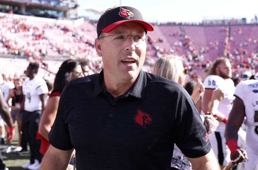 LOUISVILLE, KENTUCKY - OCTOBER 05: Head coach Scott Satterfield of the Louisville Cardinals on the field after a win against the Boston College Eagles at Cardinal Stadium on October 05, 2019 in Louisville, Kentucky. (Photo by Justin Casterline/Getty Images)