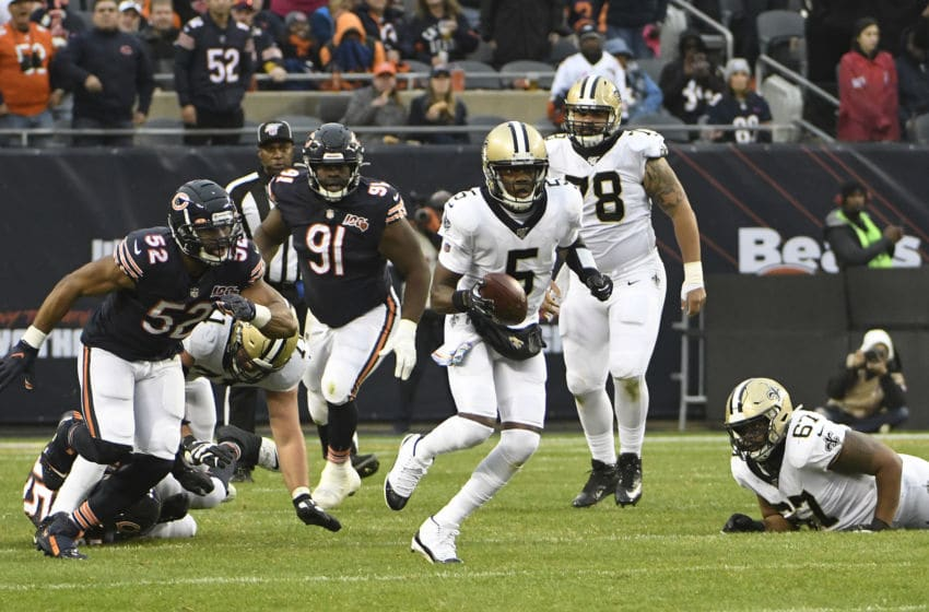 CHICAGO, ILLINOIS - OCTOBER 20: Teddy Bridgewater #5 of the New Orleans Saints runs against the Chicago Bears at Soldier Field on October 20, 2019 in Chicago, Illinois. (Photo by David Banks/Getty Images)