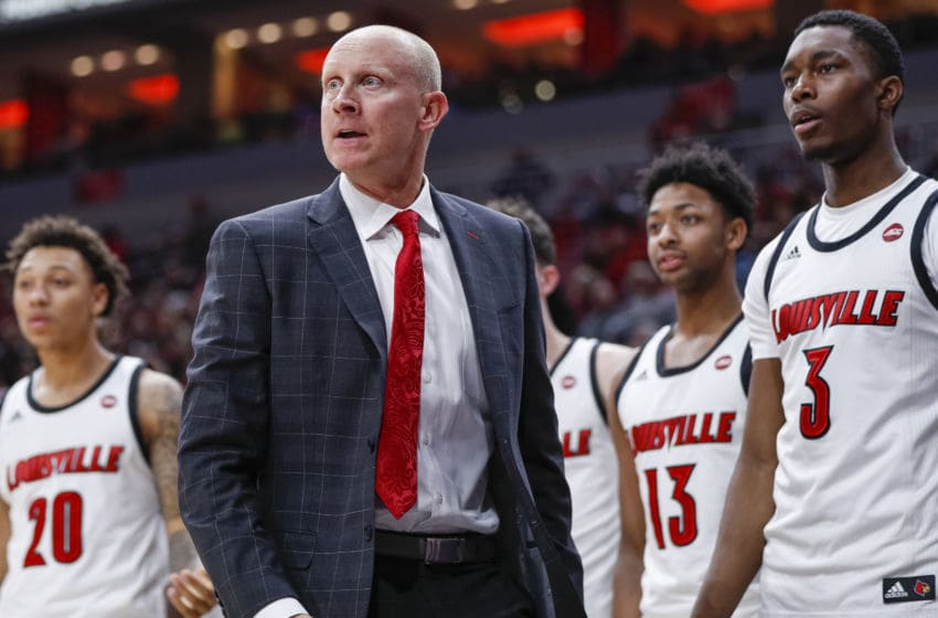 LOUISVILLE, KY - NOVEMBER 17: Head coach Chris Mack of the Louisville basketball program is seen during the game against the North Carolina Central Eagles at KFC YUM! Center on November 17, 2019 in Louisville, Kentucky. (Photo by Michael Hickey/Getty Images)