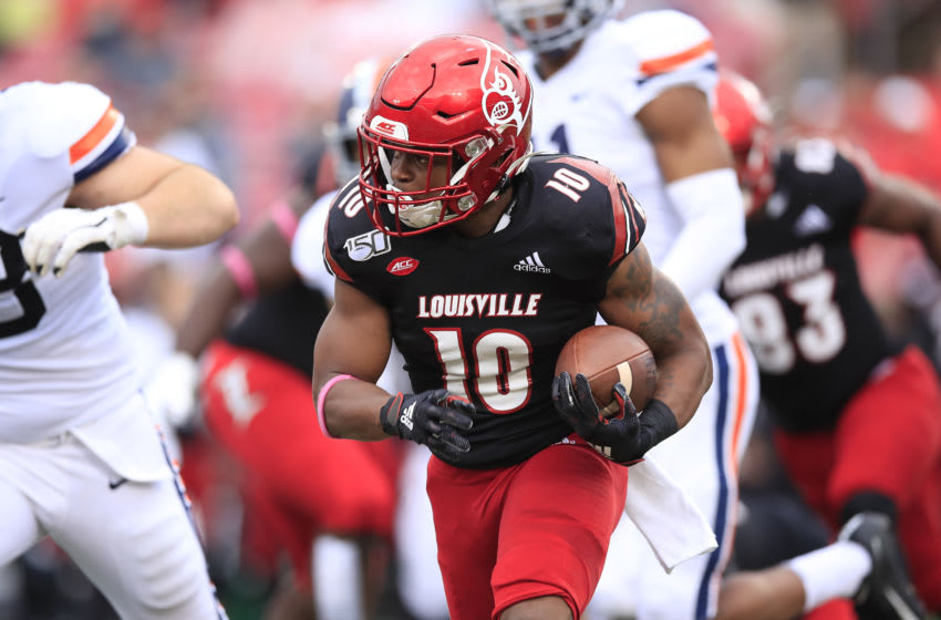 Javian Hawkins #10 of the Louisville Cardinals (Photo by Andy Lyons/Getty Images)