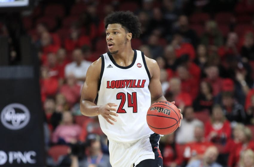 LOUISVILLE, KENTUCKY - OCTOBER 29: Dwayne Sutton #24 of the Louisville Cardinals dribbles the ball against the Bellarmine Knights during an exhibition game at KFC YUM! Center on October 29, 2019 in Louisville, Kentucky. (Photo by Andy Lyons/Getty Images)