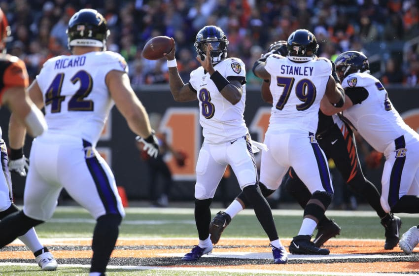 CINCINNATI, OHIO - NOVEMBER 10: Lamar Jackson #8 of the Baltimore Ravens passes the ball during the game against the Cincinnati Bengals at Paul Brown Stadium on November 10, 2019 in Cincinnati, Ohio. (Photo by Andy Lyons/Getty Images)