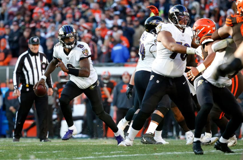 CLEVELAND, OH - DECEMBER 22: Lamar Jackson #8 of the Baltimore Ravens runs with the ball during the fourth quarter of the game against the Cleveland Browns at FirstEnergy Stadium on December 22, 2019 in Cleveland, Ohio. Baltimore defeated Cleveland 31-15. (Photo by Kirk Irwin/Getty Images)