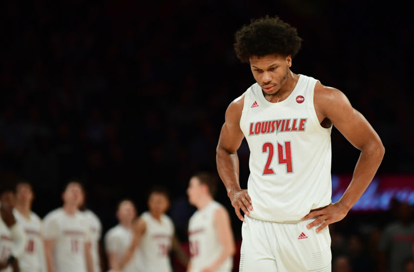 NEW YORK, NEW YORK - DECEMBER 10: Dwayne Sutton #24 of the Louisville Cardinals reacts during the second half of their game at Madison Square Garden on December 10, 2019 in New York City. The Texas Tech Red Raiders beat the Louisville Cardinals 70-57. (Photo by Emilee Chinn/Getty Images)
